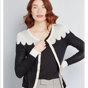 Modcloth Bea & Dot  Black and Cream Cardigan